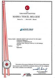 Monte Grup Marka Tescil Belgesi